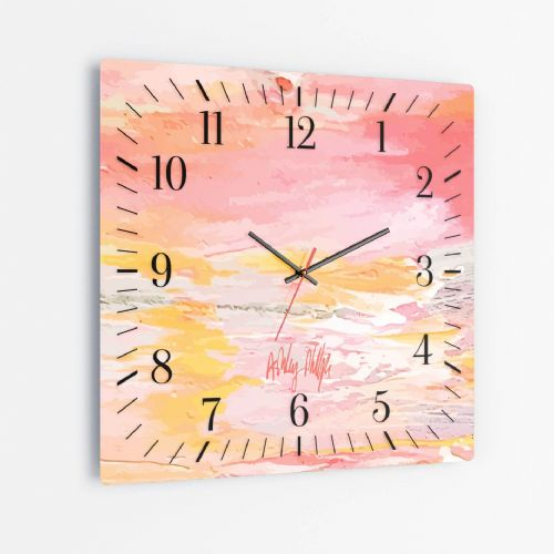 Excess Paint Red - Square Glass Clock